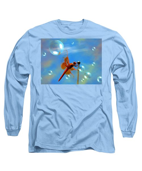 Transparent Red Dragonfly Long Sleeve T-Shirt