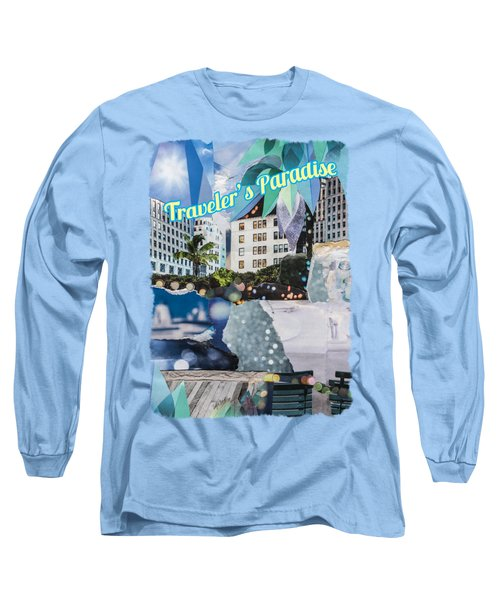Traveler's Paradise - Torn Paper Graphic Art Collage Long Sleeve T-Shirt