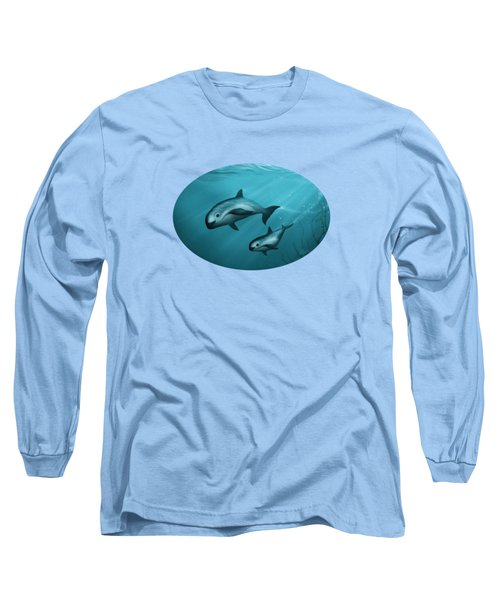 Treacherous Waters Vaquita Porpoise Long Sleeve T-Shirt by Amber Marine