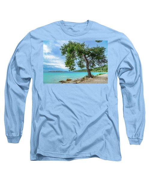 Tree On Northern Dalmatian Coast Beach, Croatia Long Sleeve T-Shirt