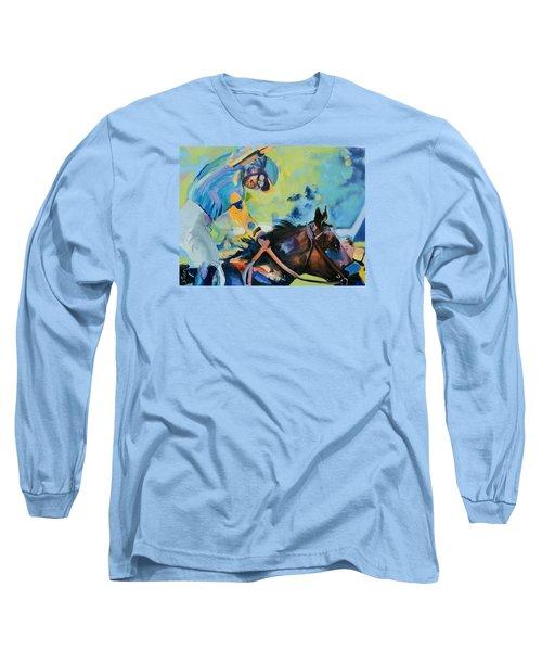 Triple Crown Champion American Pharoah Long Sleeve T-Shirt by Donna Tuten