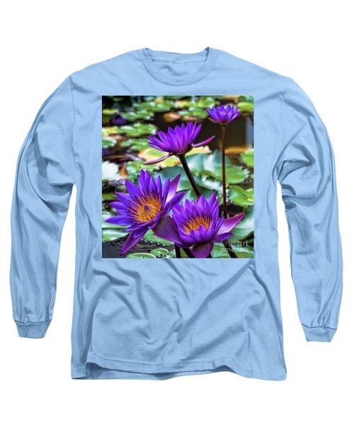 Tropical Water Lilies Long Sleeve T-Shirt by Karen Lewis