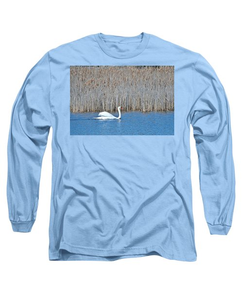 Long Sleeve T-Shirt featuring the photograph Trumpeter Swan 0967 by Michael Peychich
