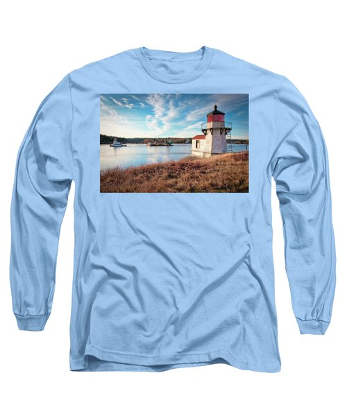 Tugboat, Squirrel Point Lighthouse Long Sleeve T-Shirt