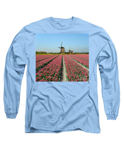 Tulips And Windmills In Holland Long Sleeve T-Shirt by IPics Photography