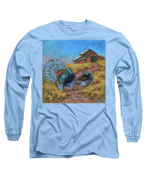 Long Sleeve T-Shirt featuring the painting Turkey Tom's Tango by Xueling Zou