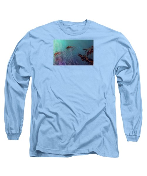 Turquoise Current And Seaweed Long Sleeve T-Shirt by Nareeta Martin