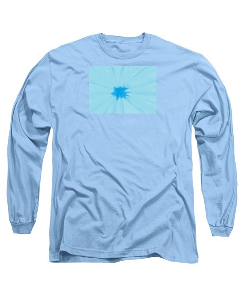 Turquoise Flower Abstract Long Sleeve T-Shirt by Linda Velasquez
