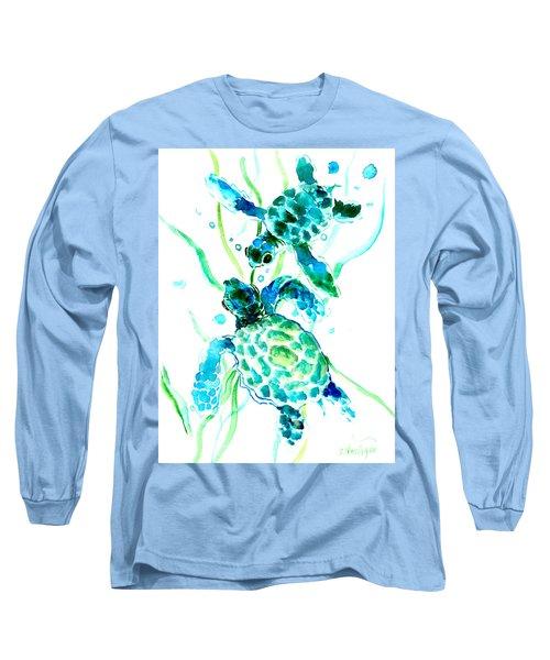 Turquoise Indigo Sea Turtles Long Sleeve T-Shirt by Suren Nersisyan
