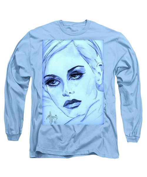 Long Sleeve T-Shirt featuring the painting Twiggy In Blue by P J Lewis