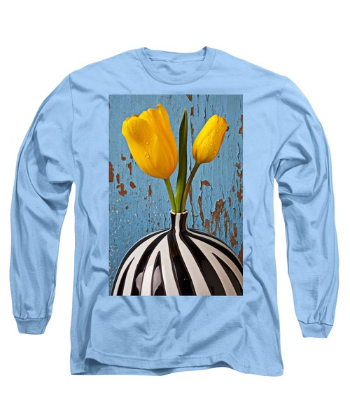 Two Yellow Tulips Long Sleeve T-Shirt by Garry Gay
