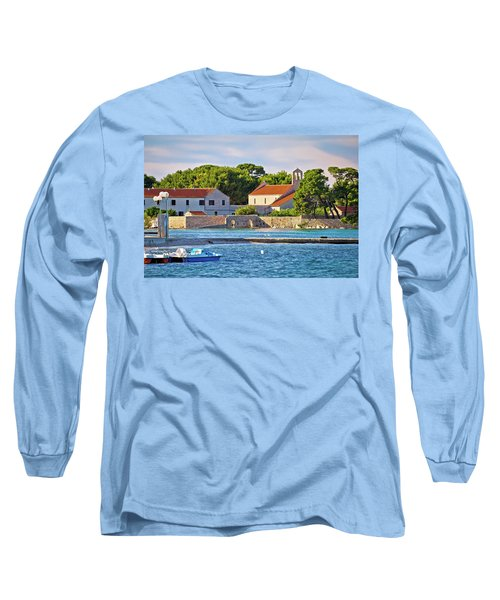 Ugljan Island Village Old Church And Beach View Long Sleeve T-Shirt