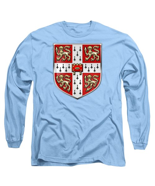 University Of Cambridge Seal - Coat Of Arms Over Colours Long Sleeve T-Shirt by Serge Averbukh
