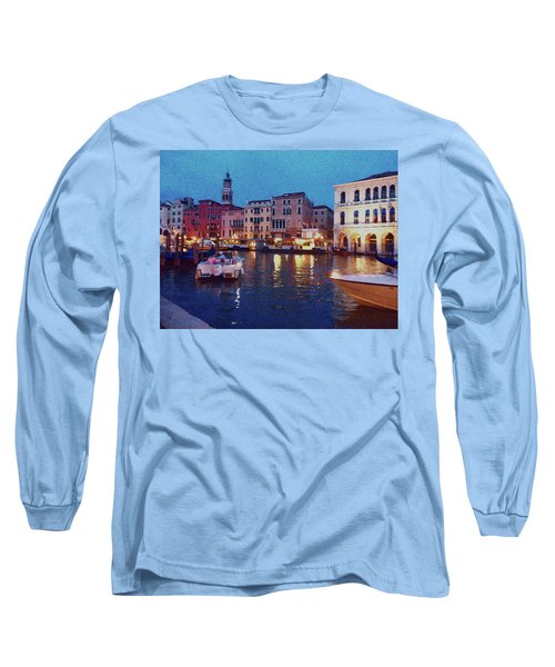 Long Sleeve T-Shirt featuring the photograph Venice By Night by Anne Kotan