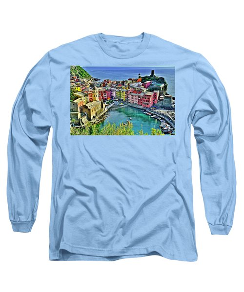 Vernazza Alight Long Sleeve T-Shirt by Frozen in Time Fine Art Photography