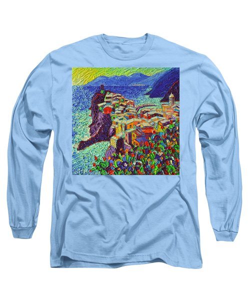 Vernazza Cinque Terre Italy 2 Modern Impressionist Palette Knife Oil Painting By Ana Maria Edulescu  Long Sleeve T-Shirt
