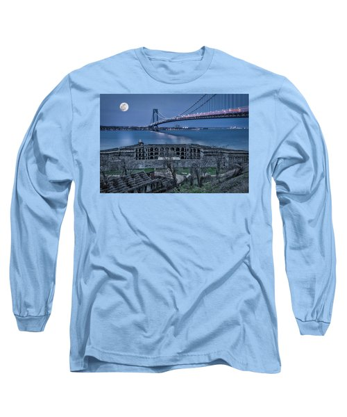 Long Sleeve T-Shirt featuring the photograph Verrazano Narrows Bridge Full Moon by Susan Candelario