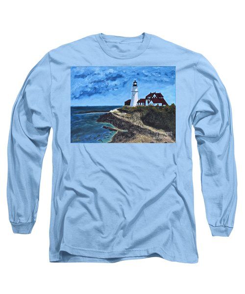 View From The North Portland Head Light Long Sleeve T-Shirt