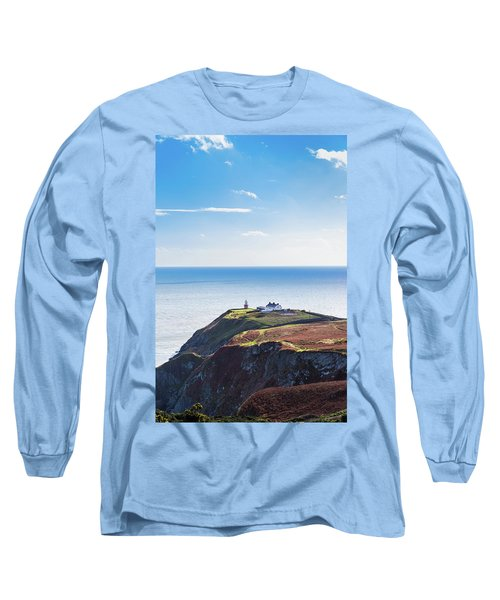 View Of The Trails On Howth Cliffs With The Lighthouse In Irelan Long Sleeve T-Shirt by Semmick Photo