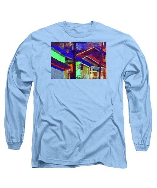 Long Sleeve T-Shirt featuring the digital art Village Houses by Richard Farrington