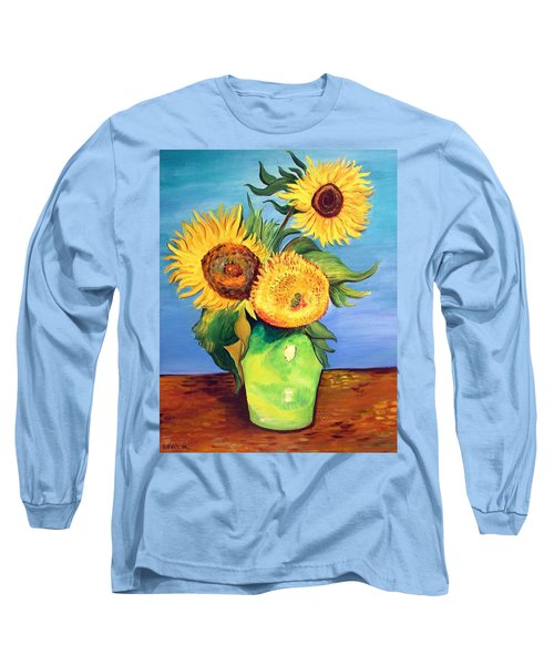 Vincent's Sunflowers Long Sleeve T-Shirt by Patricia Piffath