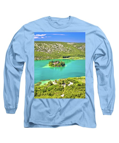 Visovac Lake Island Monastery Aerial View Long Sleeve T-Shirt by Brch Photography
