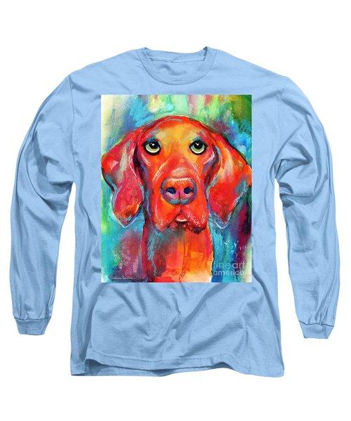 Vizsla Dog Portrait Long Sleeve T-Shirt by Svetlana Novikova