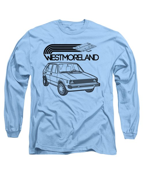 Vw Rabbit - Westmoreland Theme - Black Long Sleeve T-Shirt by Ed Jackson