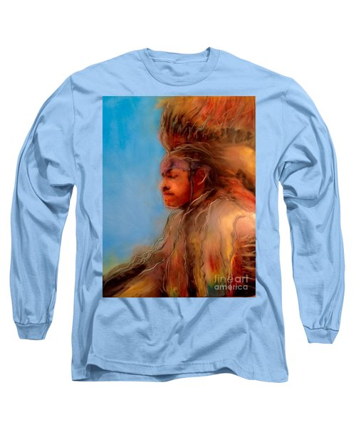Long Sleeve T-Shirt featuring the painting Wakantanka Maka Kin Kaye by FeatherStone Studio Julie A Miller