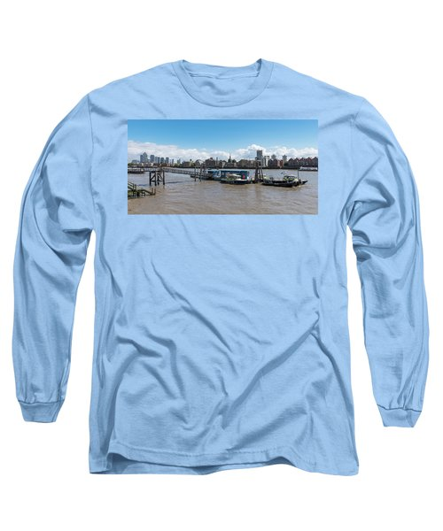 Long Sleeve T-Shirt featuring the photograph Wapping River Police Waterloo Pier by Gary Eason