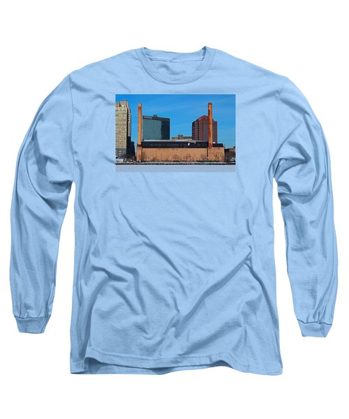 Long Sleeve T-Shirt featuring the photograph Water Street Steam Plant In Winter by Michiale Schneider