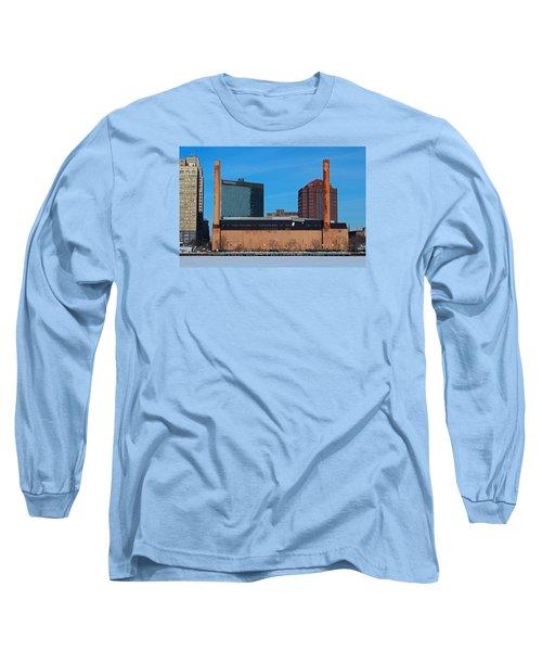 Water Street Steam Plant In Winter Long Sleeve T-Shirt by Michiale Schneider