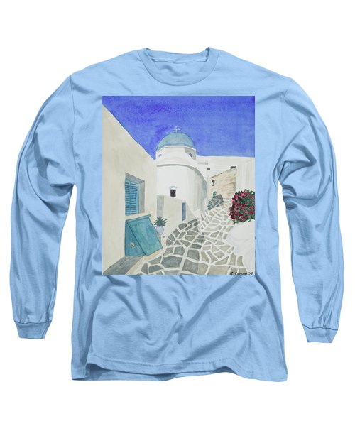 Watercolor - Paros Church And Street Scene Long Sleeve T-Shirt
