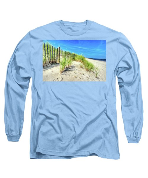 Long Sleeve T-Shirt featuring the photograph Waterfront Sand Dune And Grass by Gary Slawsky