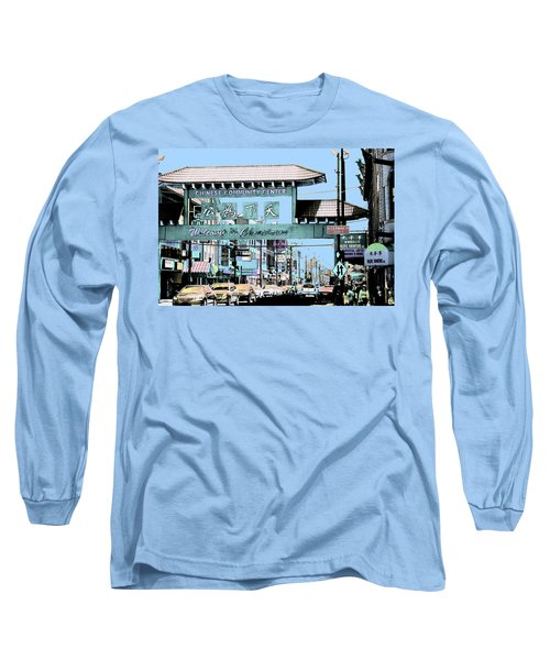 Welcome To Chinatown Sign Blue Long Sleeve T-Shirt by Marianne Dow