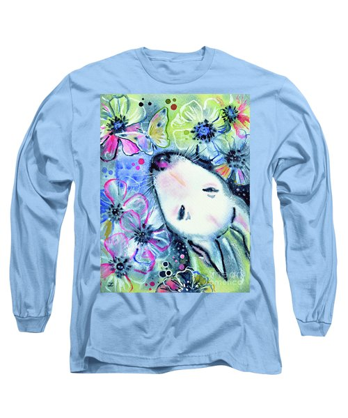 Long Sleeve T-Shirt featuring the painting White Bull Terrier And Butterfly by Zaira Dzhaubaeva
