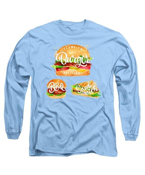 White Burger Long Sleeve T-Shirt by Aloke Creative Store