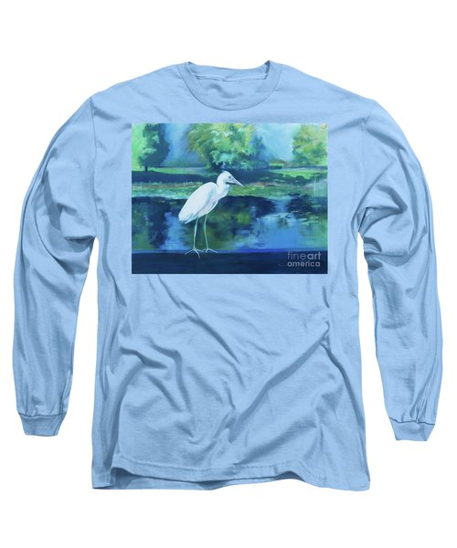 Long Sleeve T-Shirt featuring the pastel White Egret Bird On Blue by Robin Maria Pedrero