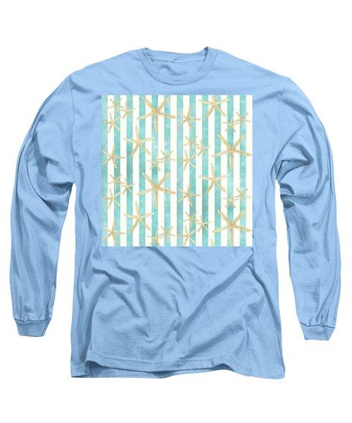 White Finger Starfish Watercolor Stripe Pattern Long Sleeve T-Shirt