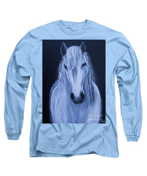 Long Sleeve T-Shirt featuring the painting White Horse by Stacey Zimmerman