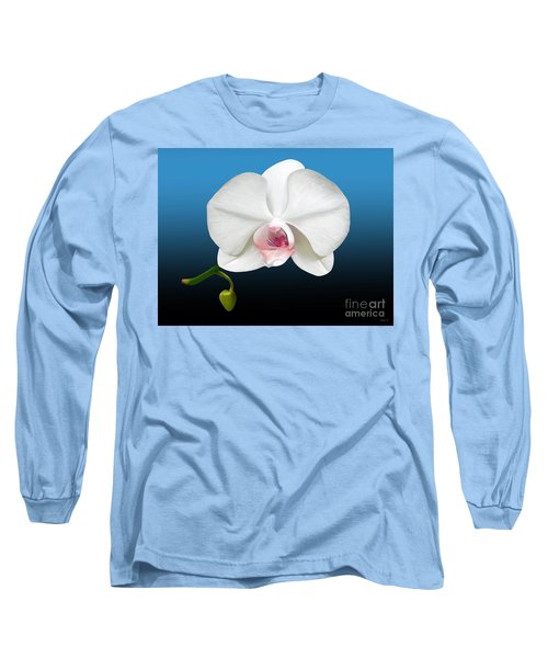 Long Sleeve T-Shirt featuring the digital art White Orchid by Rand Herron