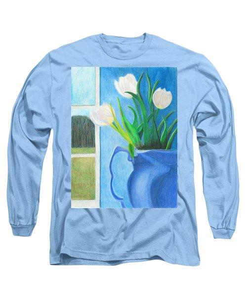 White Tulips Long Sleeve T-Shirt by Arlene Crafton