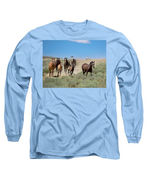 wild mustangs on the run to the water hole in Sand Wash Basin Long Sleeve T-Shirt