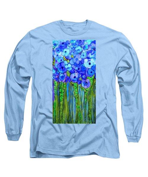 Long Sleeve T-Shirt featuring the mixed media Wild Poppy Garden - Blue by Carol Cavalaris