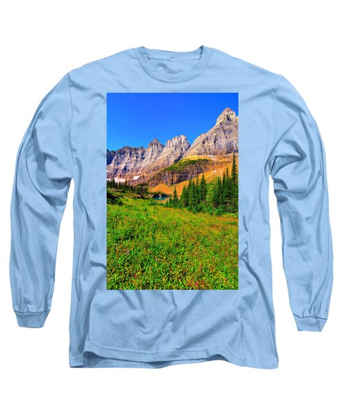 Long Sleeve T-Shirt featuring the photograph Wildflower Meadow Beneath The Ptarmigan Wall by Greg Norrell