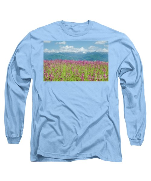 Wildflower Meadows And The Carpathian Mountains, Romania Long Sleeve T-Shirt