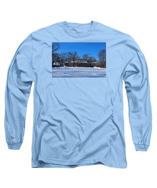 Long Sleeve T-Shirt featuring the photograph Wildwood Manor House In The Winter by Michiale Schneider