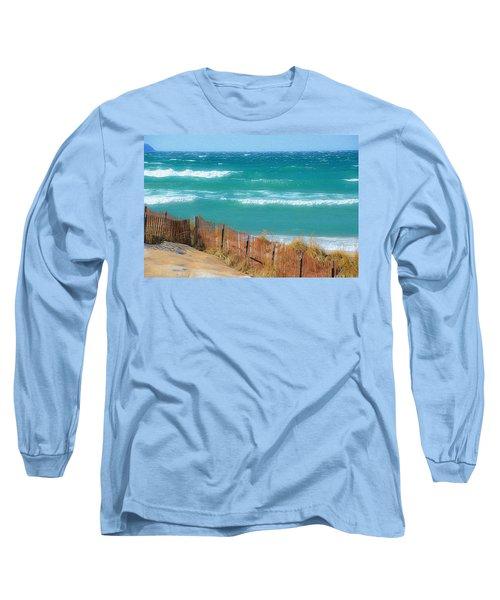 Windy Day On Lake Michigan Long Sleeve T-Shirt