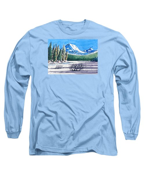 Long Sleeve T-Shirt featuring the painting Winter At Mt. Lassen by Terry Banderas