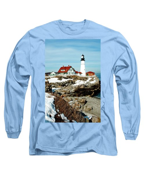 Winter At Portland Head Long Sleeve T-Shirt by Greg Fortier